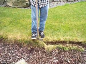 Устройство газона, снятие верхнего слоя