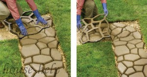 Изготовление садовой дорожки с помощью формы